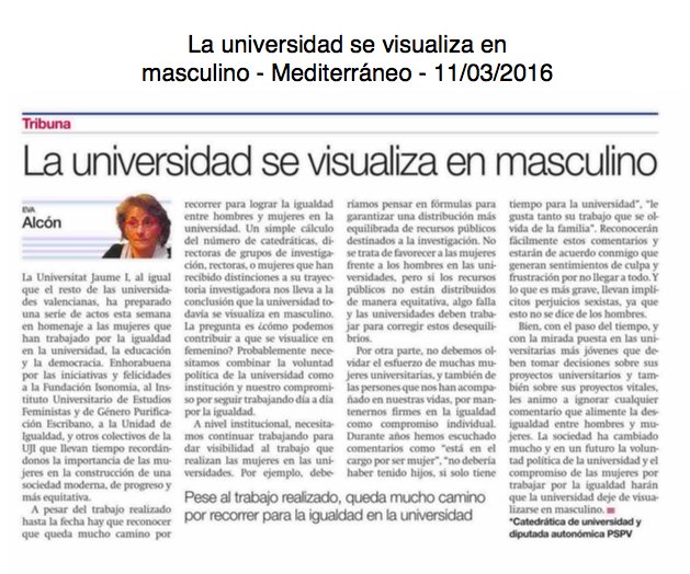 La universidad se visualiza en masculino