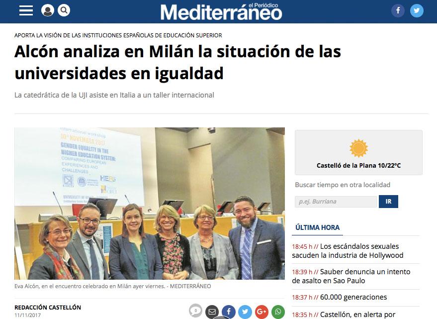 Alcón analiza en Milán la situación de las universidades en igualdad