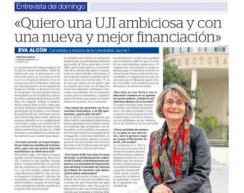 «Quiero una UJI ambiciosa y con una nueva y mejor financiación»