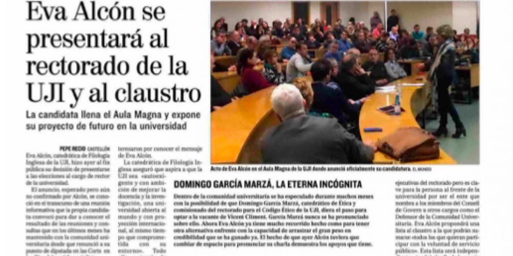 Eva Alcón se presentará al rectorado de la UJI y al claustro (El Mundo, 25/01/2018)