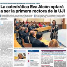 La catedrática Eva Alcón optará a ser la primera rectora de la UJI (Mediterráneo, 25/01/2018)