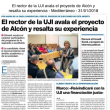 El rector de la UJI avala el proyecto de Alcón y resalta su experiencia (Mediterráneo, 31/01/2018)