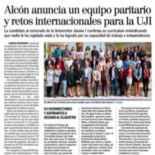 Alcón anuncia un equipo paritario y retos internacionales para la UJI (El Mundo, 20/04/18)