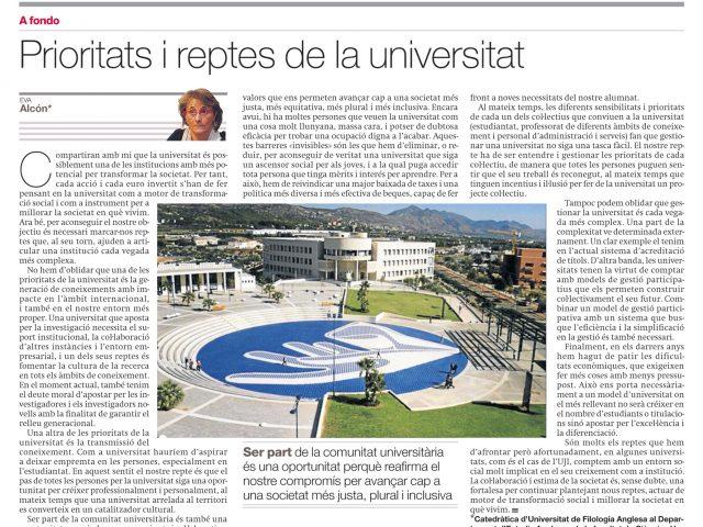 Prioritats i reptes de la universitat (Mediterráneo, 22/10/2007)