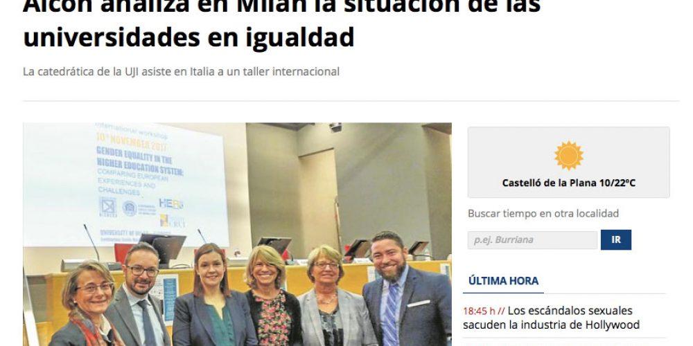 Alcón analiza en Milán la situación de las universidades en igualdad (11/11/2017)