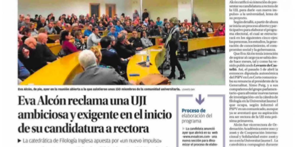 Eva Alcón reclama una UJI ambiciosa y exigente en el inicio de su candidatura (Levante, 25/01/2018)