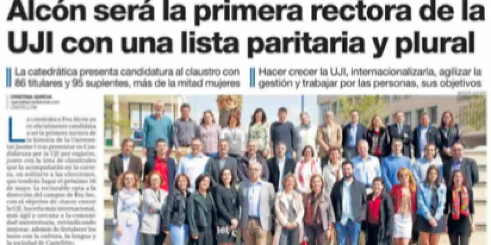 Alcón será la primera rectora de la UJI con una lista paritaria y plural (Mediterráneo, 20/04/2018)
