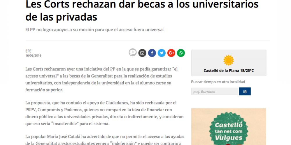Les Corts rechazan dar becas a los universitarios de las privadas (Mediterráneo, 16/06/2016)