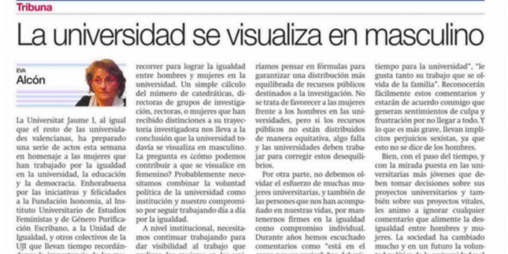 La universidad se visualiza en masculino (Mediterráneo, 11/03/2016)