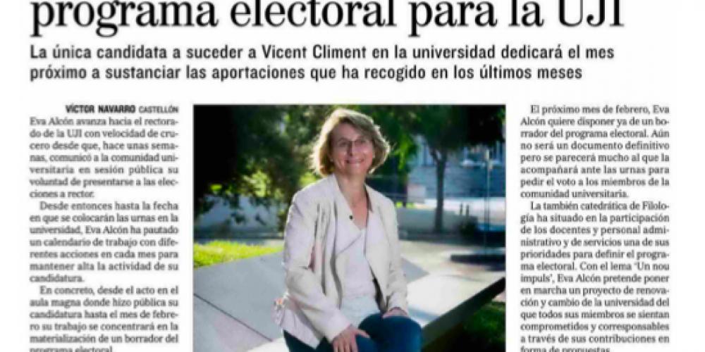 Eva Alcón trazará en febrero su programa electoral para la UJI (El Mundo, 31/01/2018)