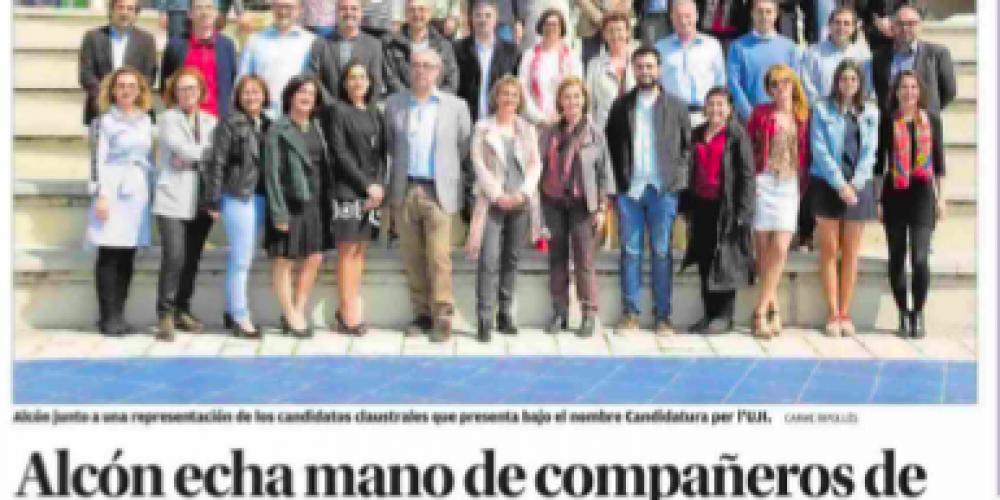 Alcón echa mano de compañeros de su etapa de vicerrectora junto a Toledo (Levante, 20/04/18)
