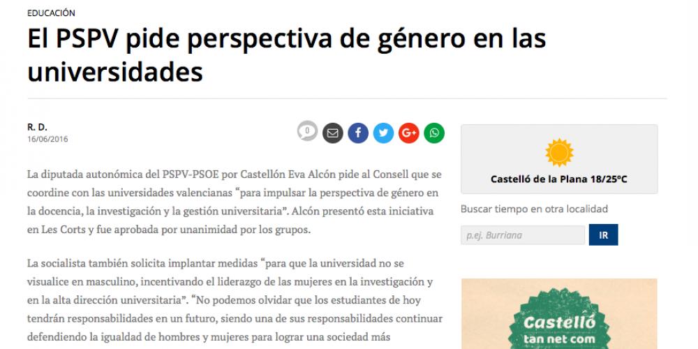 Eva Alcón pide perspectiva de género en las universidades (Mediterráneo, 16/06/2016)